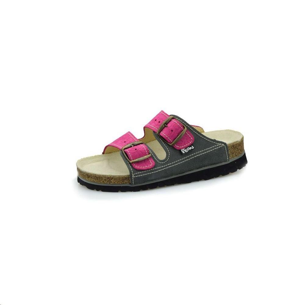 4c2d74938a Pantofle PEON PE 125k-46 dámské šedo růžové