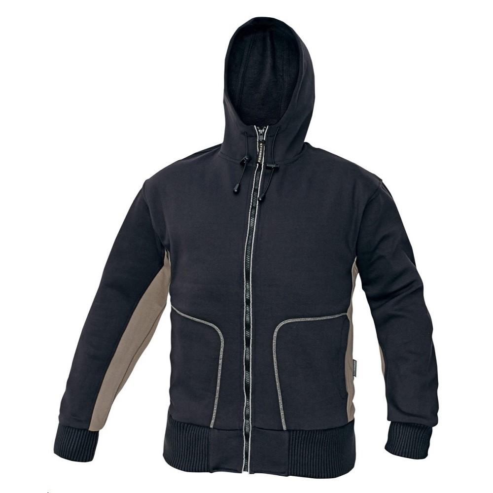 54abb5ae992 Mikina STANMORE hnědo černá pánská s kapucí 80% bavlna