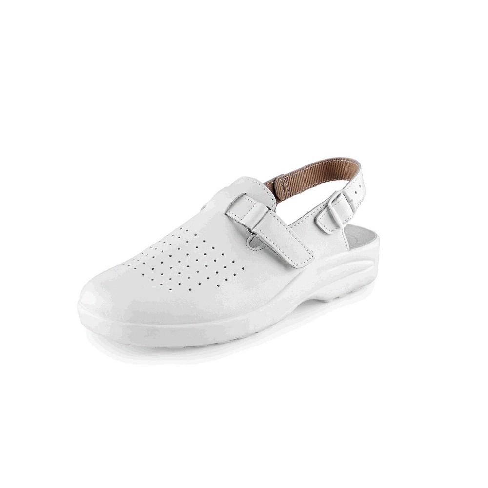 Obuv MIKA dámský kožený sandál s plnou špicí s přezkou na suchý zip bílý a870cc23f01