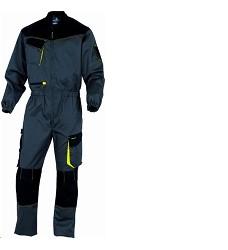 Montérková kombinéza D-MACH, elastická v pase, Zapínání na zip překrytý lištou, šedo-žlutá