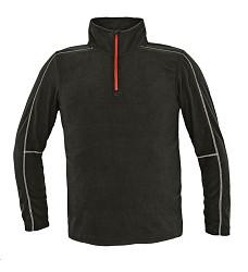Mikina WELBURN lehká fleecová se stojáčkem, černá, krátký zip