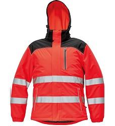 Bunda KNOXFIELD červená Hi-Vis WINTER pánská reflexní zimní s odnímatelnou kapucí