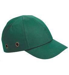 Čepice bezpečnostní DUIKER- zelená bavlněná s pevným kšiltem vnitřní plastová výztuha
