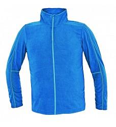 Mikina WESTOW, pánská fleecová, kr. modrá,  lehká, dlouhý zip, kontrastní švy, 150g/m2