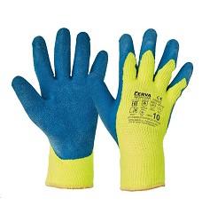 Rukavice NIGHTJAR zimní pletené akrylové polomáčené zdrsněná dlaň modro-žluté