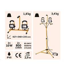 Reflektor LED 2x800lm se stojanem 125cm 43281