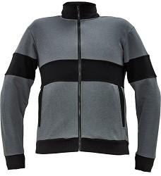 Mikina MAX na dlouhý  zip šedo/černá 290g/m2 65% polyester 35% bavlna
