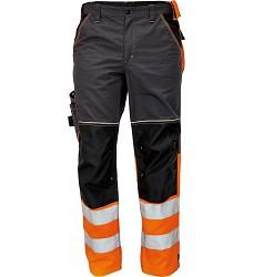 Montérkové kalhoty KNOXFIELD HI-VIS DW, pasové antracit-oranžové dole reflexní pruhy