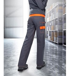 Montérkové kalhoty COOLTREND H9101 dámské pasové šedo-oranžové