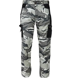 Kalhoty CRAMBE šedé camouflage, pánské do pasu, 190g/m2