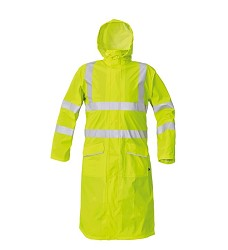Nepromokavý plášť SIRET HI-VIS žlutý s kapucí a reflexními pruhy