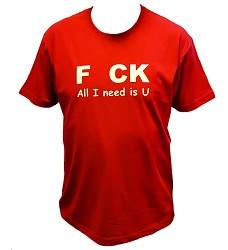 Triko s potiskem Sakra, vše co potřebuji jsi ty - F  CK All I need is U