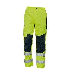 Kalhoty TICINO Hi-Vis do pasu reflexní podlepené švy pas ke stažení na suchý zip žluté