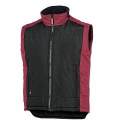 Vesta FIDJI zateplená polar fleecem, povrstvená PVC, černo/červená