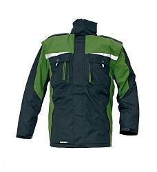 Bunda zimní ALLYN, 2v1, odpínatelné rukávy, reflexní doplňky 3M, černo-zelená DOPRODEJ