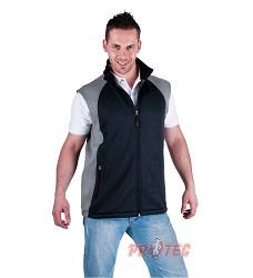 Vesta softshellová TEJON, 95%polyester, 5%spandex, černo/šedá