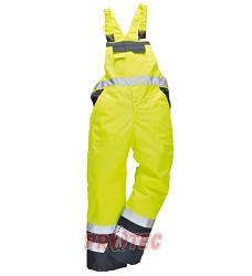 Zateplené reflexní laclové kalhoty S489, žluté