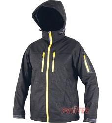 DUNDEE bunda softshell, pánská černá+žlutý zip