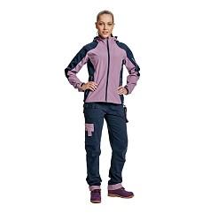 Bunda softshellová dámská YOWIE na zip s kapucí, 100% polyester 210g/m2 fialovo/modrá