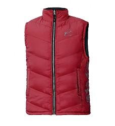Dámská zateplená vesta YOWIE, červená, prošívaná, stojáček, květinový potisk,nastranách
