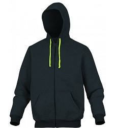 Mikina CENTO, černá,  na dlouhý zip, s kapucí, 65%polyester, 35% bavlna,