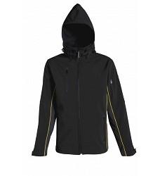 Bunda softshellová HORTEN, dlouhý zip, 96%polyester, 4%elasten, černá+žluté doplňky