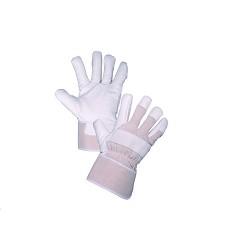 Rukavice GORO WINTER zimní s tuhou manžetou a podšívkou bílo-béžové