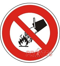 B.t. Zákaz použití vody pro hašení 20cm, plast