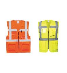 Vesta manažerská reflexní na zip S476 PORTWEST, žlutá,oranž, červená
