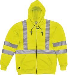 Mikina reflexní na zip  RESCUE, barva žlutá, polyester fleec, pásky 3M Scotchlite
