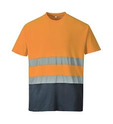 Tričko COMFORT S173 výstražné s bavlnou reflexní oranžovo-modré
