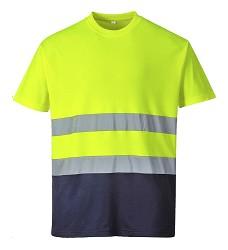 Tričko COMFORT S173 výstražné s bavlnou reflexní žluto-modré