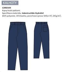 Kalhoty kyselinovzdorné ANTAL 2002, do pásku, 65%polyester, 35%bavlna