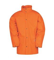 Bunda DORTMUND 4820 pánská nepromokavá s kapucí v límci, 100 % Flexothane, oranžová
