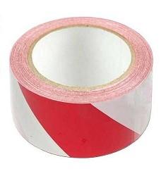 Páska výstražná PVC červenobílá  50 mm x 33 m samolepící levá
