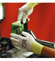 Rukavice  HYFLEX Lite, A11-600, povstvené polyuretanem, bílé, pružný náplet