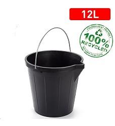 Vědro plast , kov  Strong 12l černé s výlevkou 31x31x27 cm