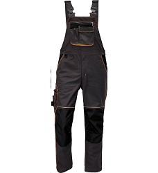 Montérkové kalhoty KNOXFIELD pánské s laclem elastické šle antracit-oranžová