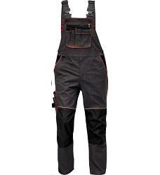 Montérkové kalhoty KNOXFIELD pánské s laclem elastické šle antracit-červená