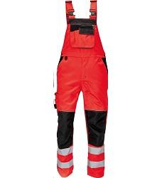 Montérkové kalhoty KNOXFIELD Hi-Vis pánské reflexní s laclem elastické šle červené