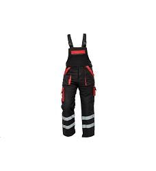 Montérkové kalhoty MAX REFLEX WINTER pánské zimní s laclem černo-červené