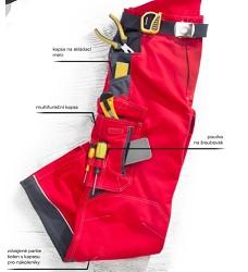 Montérkové kalhoty VISION H9154 pasové 183-190 cm prodloužené červené