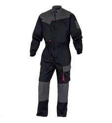 Montérková kombinéza D-MACH, elastická v pase, Zapínání na zip překrytý lištou, Černá-Červ