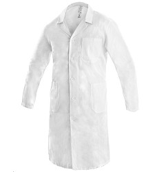 Plášť ADAM pánský s dlouhým rukávem se 3 kapsami bílý