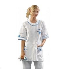 Halena KATKA dámská 100% bavlna 145g/m2 bílá s modrými doplňky