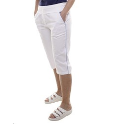 Kalhoty dámské 3/4 KARINA, vz. 2417, bílé v pase na elastický úplet s tkanicí