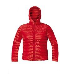 Bunda zimní dámská OISLY LADY s kapucí imitace peří DOPRODEJ  sbalitelná  červená