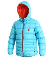 Bunda dětská MEMPHIS, zateplená, oboustranná, s kapucí, sv.modrá/oranž