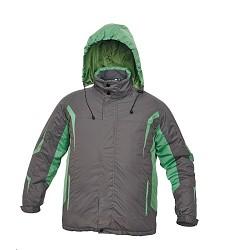 Bunda SALCHA pánská zimní, sportovní střih, integrovaná kapuce, 100% polyester,šedá