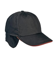 Čepice EMERTON zimní, 65% bavlna/35% polyester, černá/oranžová